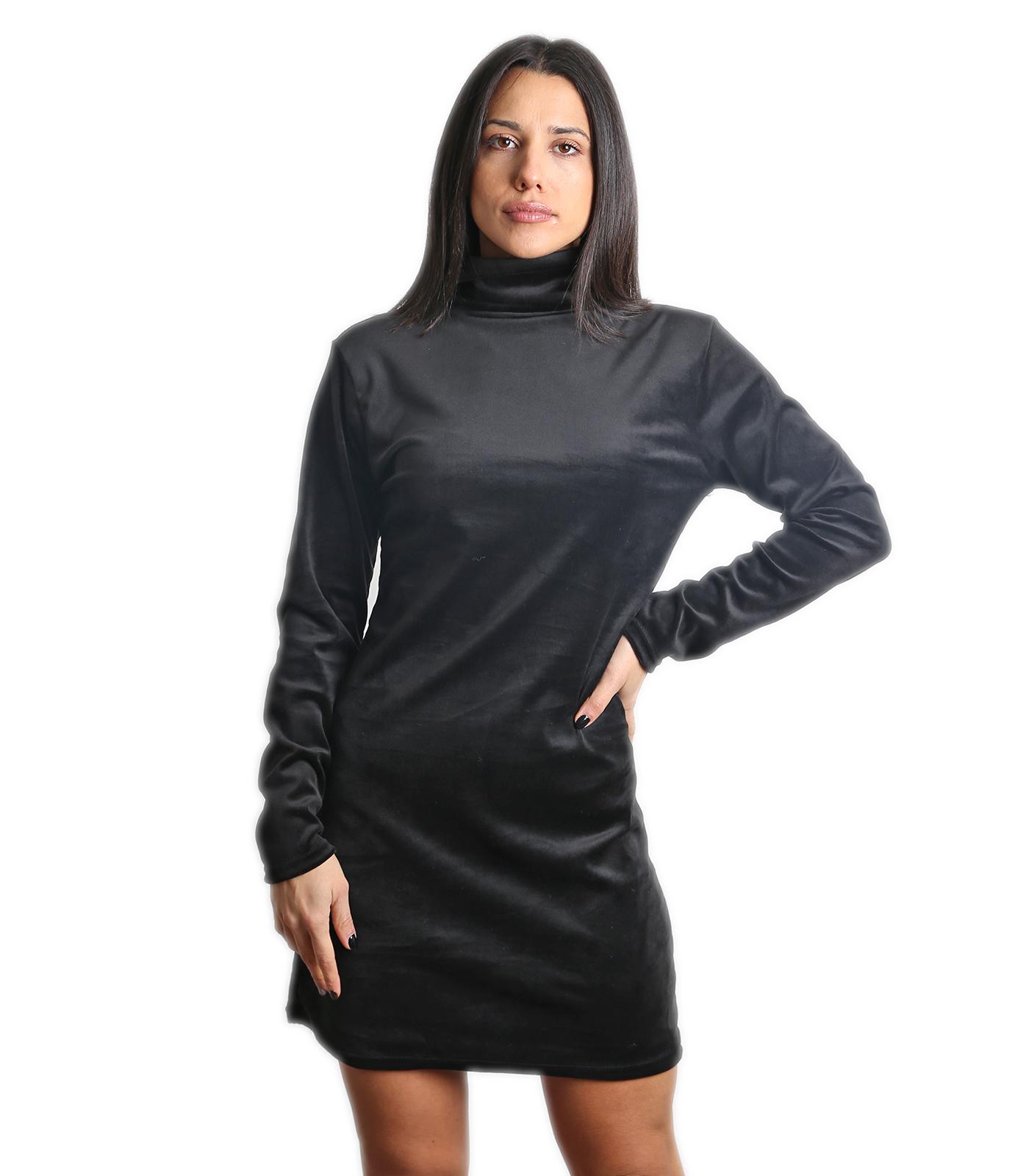 Βελούδινο μίνι φόρεμα ζιβάγκο (Μαύρο)