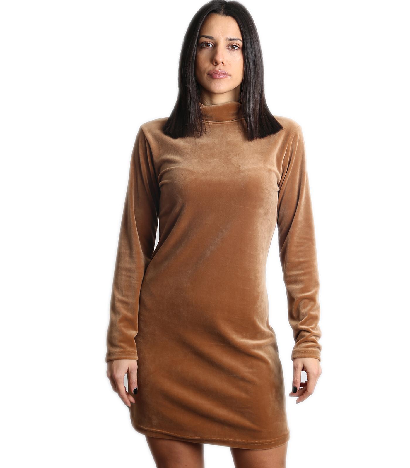 Βελούδινο μίνι φόρεμα ζιβάγκο (Κάμελ)