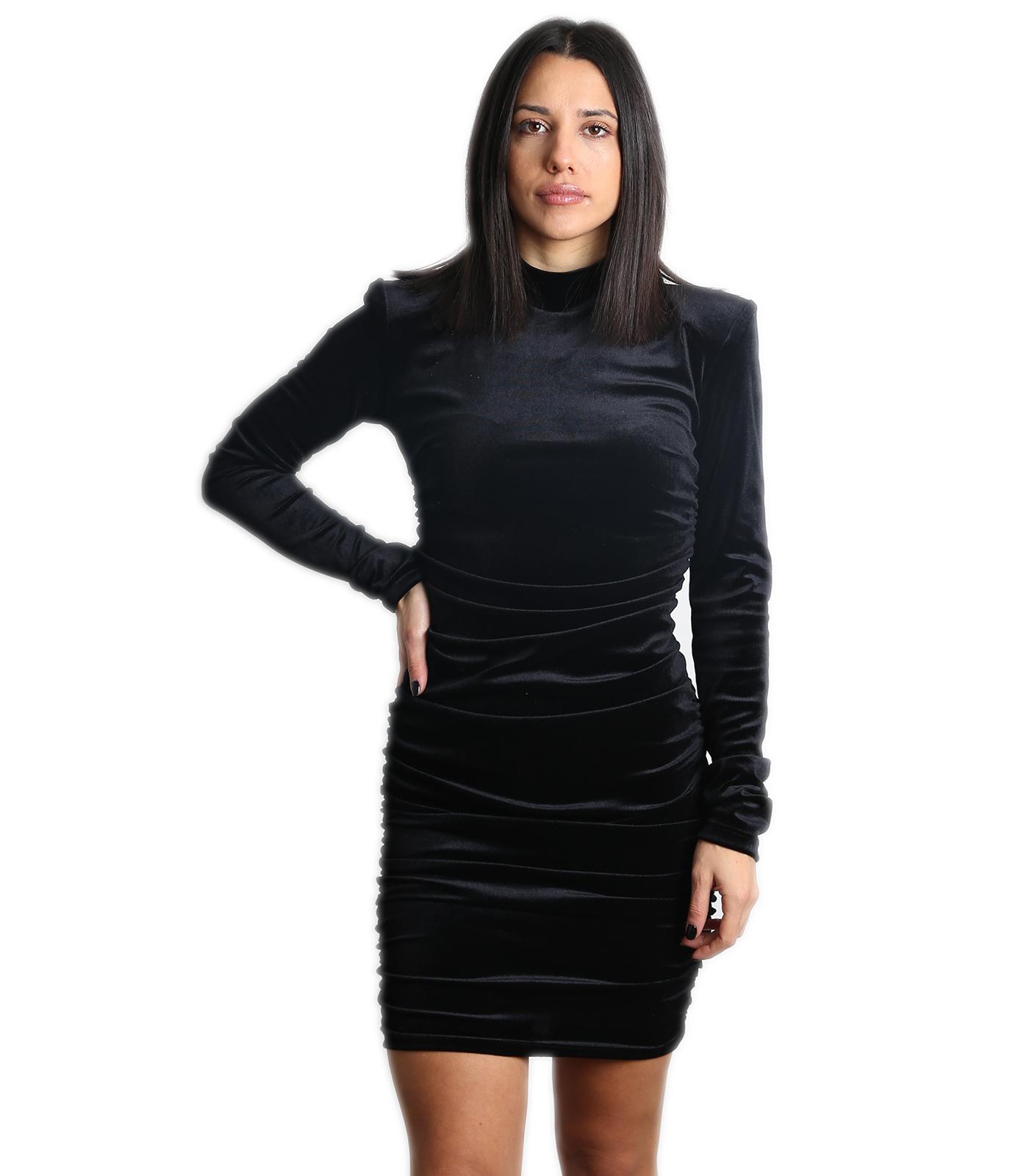 Βελούδινο φόρεμα ζιβάγκο (Μαύρο)