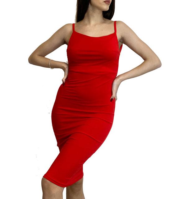 Eλαστικό φόρεμα midi με τιράντες εξώπλατο (Κόκκινο)