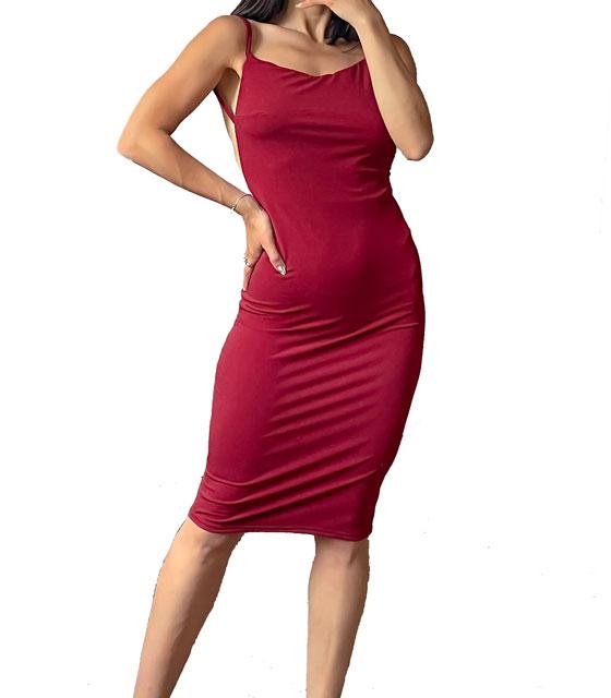 Ελαστικό φόρεμα midi με τιράντες (Μπορντό)