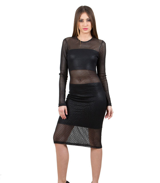 Φόρεμα τρυπητή δερματίνη ρούχα   φορέματα
