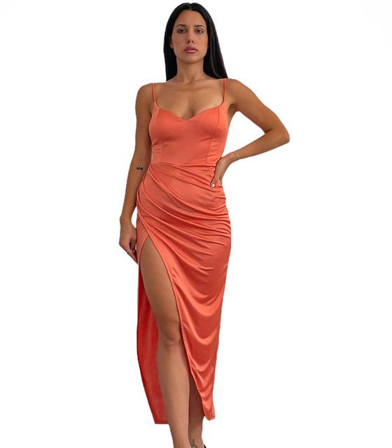 Φόρεμα μάξι τιράντα με επένδυση (Ροδακινί)