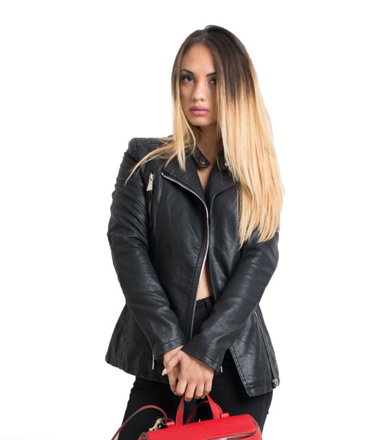 Black faux leather jacket with belt