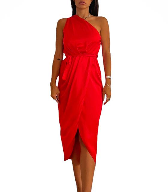 Midi σατέν φόρεμα με έναν ώμο και ζώνη Cecilia (Κόκκινο)