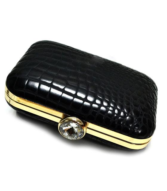 Τσάντα clutch snake μαύρο