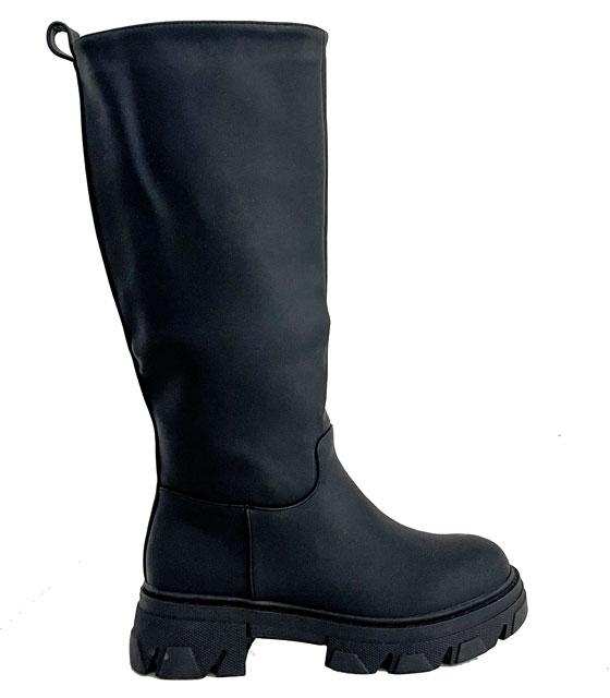 Δερματίνη μπότα με τρακτερωτό πάτο (Μαύρο)
