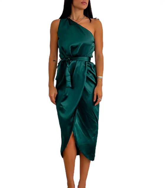 Midi σατέν φόρεμα με έναν ώμο και ζώνη Cecilia (Κυπαρισσί)