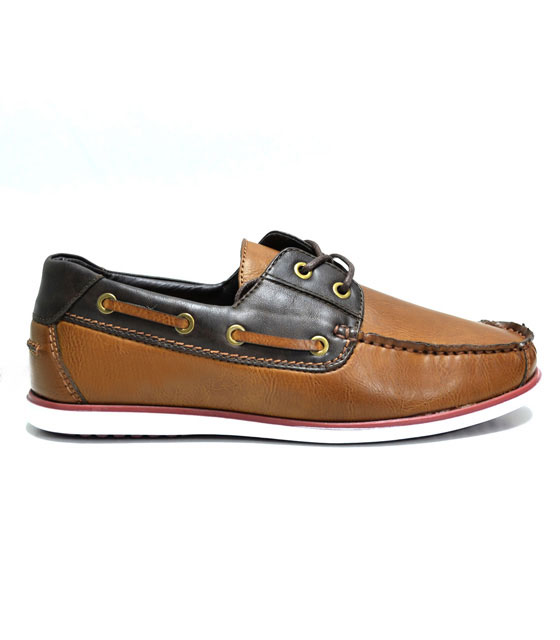 Men faux leather boat shoes brown