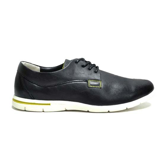 Men faux leather shoes black