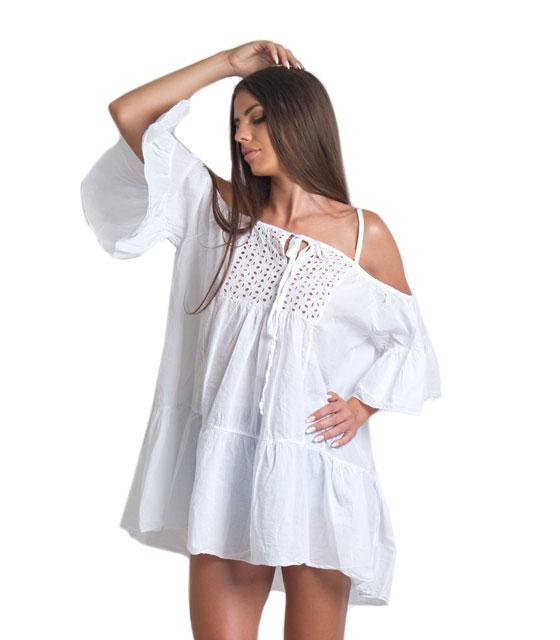 Φόρεμα λευκό φαρδύ