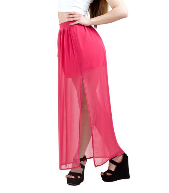 Μαξι φούστα διαφάνεια με σκισίματα φούξια ρούχα   bottoms   φούστες