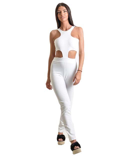 Ολόσωμη φόρμα με ανοίγματα λευκή
