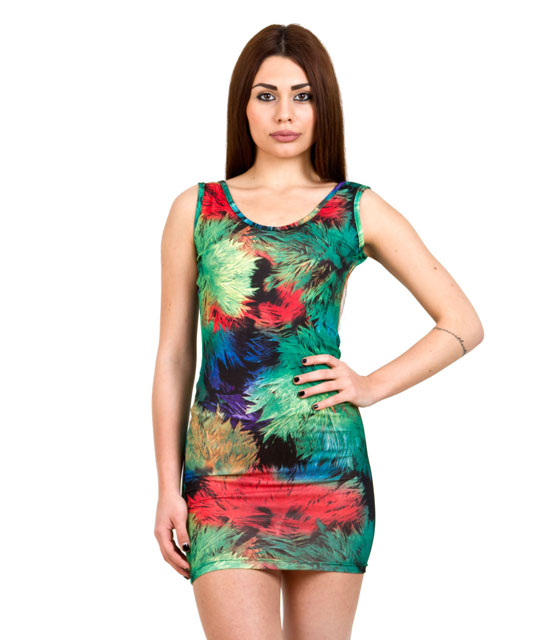Shoulder Strap Mini Bodycon Dress with scoop back (Green Floral Print)