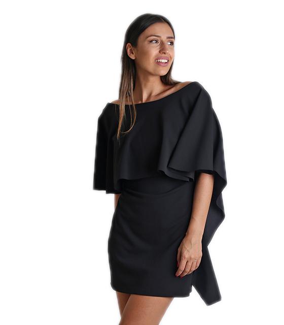Φόρεμα βολάν εξώπλατο μαύρο ρούχα   φορέματα
