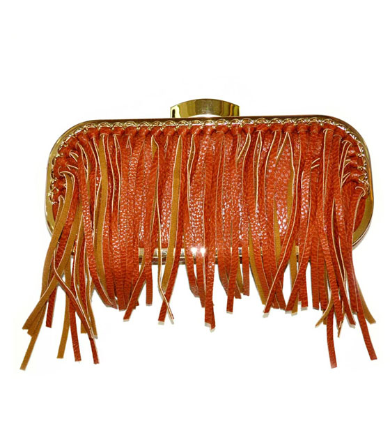 Bag clutch box with fringes