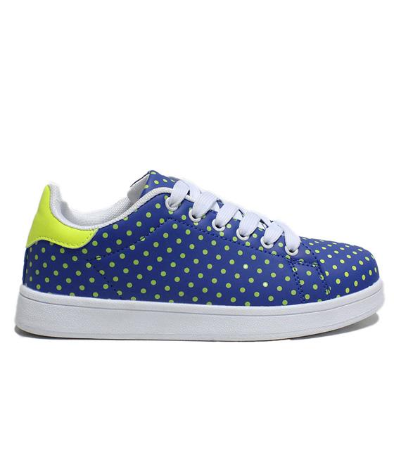 Sneakers πουά μπλε-κίτρινο