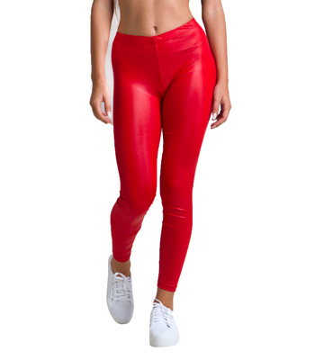 Metallic pop leggings red