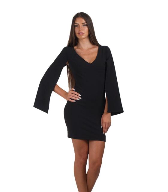 Φόρεμα μαύρο κάπα με ανοιχτά μανίκια ρούχα   φορέματα
