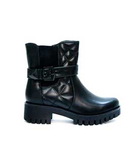 Boots black leatherette quilted with black detail