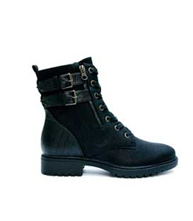 Boots black leatherette with croco detail and 2 straps