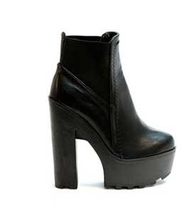 Boots black leatherette with lateral elastic ankle