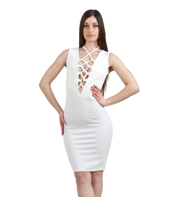 Φόρεμα με δέσιμο στο στηθος λευκό εκρού ρούχα   φορέματα
