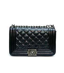 Bag black leatherette upholstered with chain details