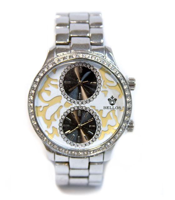 Ρολόι faux bijoux ασημι με καντράν ασπρο-μαυρο-χρυσο αξεσουάρ   ρολόγια