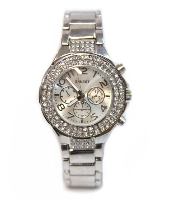 Ρολόι στρασάτο με τριπλό καντράν (ασημί) αξεσουάρ   ρολόγια