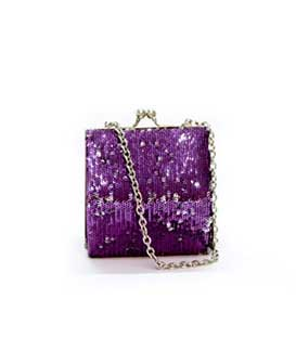 Clutch bag strass purple-silver