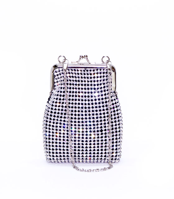 Clutch strass silver-black