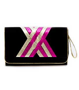 Bag envelope suede with gold-fuschia details