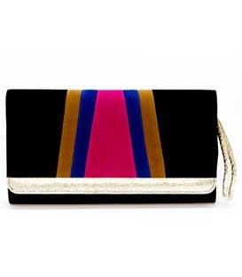 Τσάντα φάκελος μαύρο με μπεζ-μπλε-φούξ λεπτομέρειες