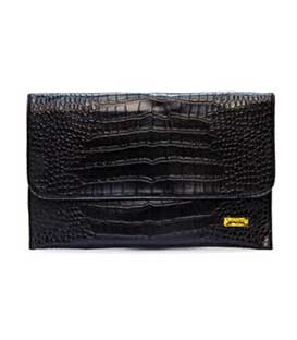 Bag envelope black leatherette croco