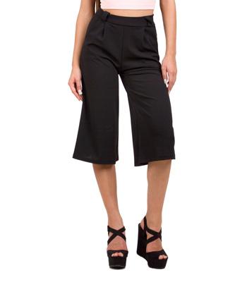 Ζιπ κιλότ παντελόνα μαύρη ρούχα   bottoms   παντελόνια
