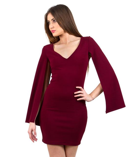 Φόρεμα μπορντό κάπα με ανοιχτά μανίκια ρούχα   φορέματα