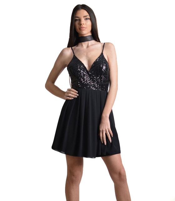 Φόρεμα μαύρο με πούλιες