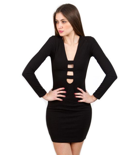 Μίνι φόρεμα μαύρο με άνοιγμα μπροστά ρούχα   φορέματα