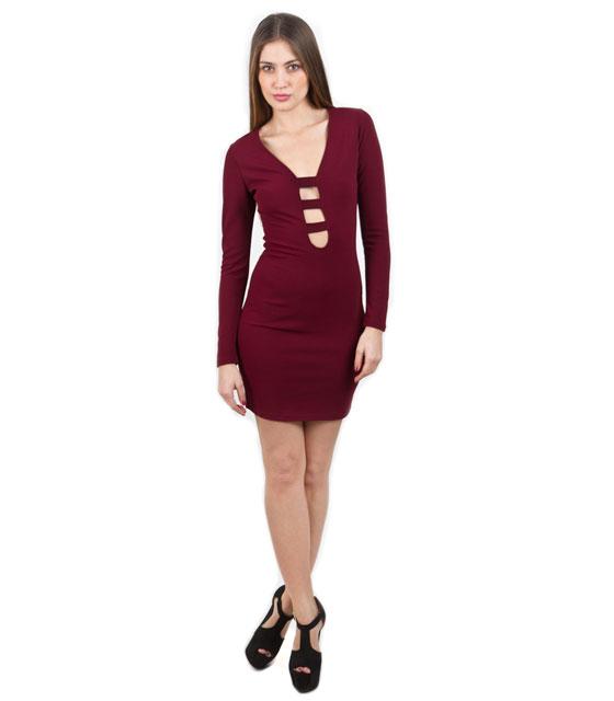 Φόρεμα μπορντό midi με άνοιγμα μπροστά