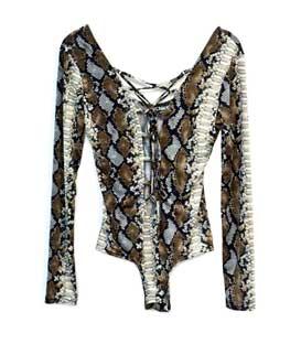 Κορμάκι φίδι καφέ με χαμηλό εμπρός δέσιμο ρούχα   μπλούζες   top   κορμάκια