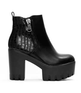 Boots black with zipper and croco detail