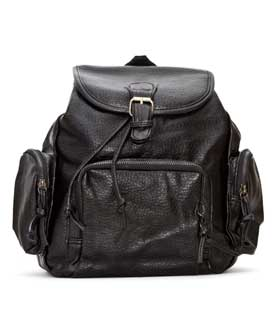 Backpack black with zippered pockets