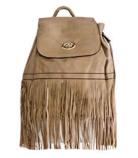Backpack with long fringes beige