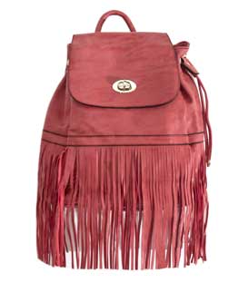 Backpack with long fringes coral