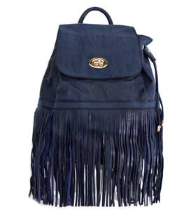 Backpack with long fringes blue