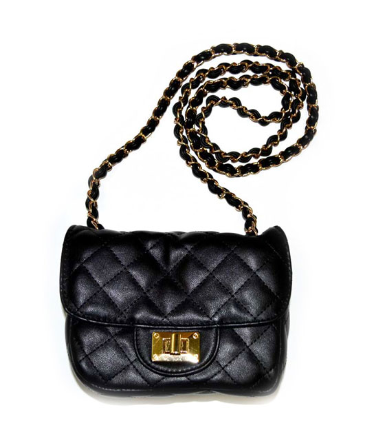 Quilted bag with chain strap