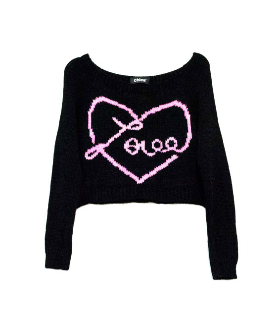 Shirt short knitted Love with long sleeves black