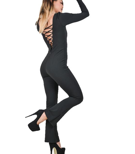 Ολόσωμη φόρμα με πλάτη χιαστή καμπάνα μαύρη