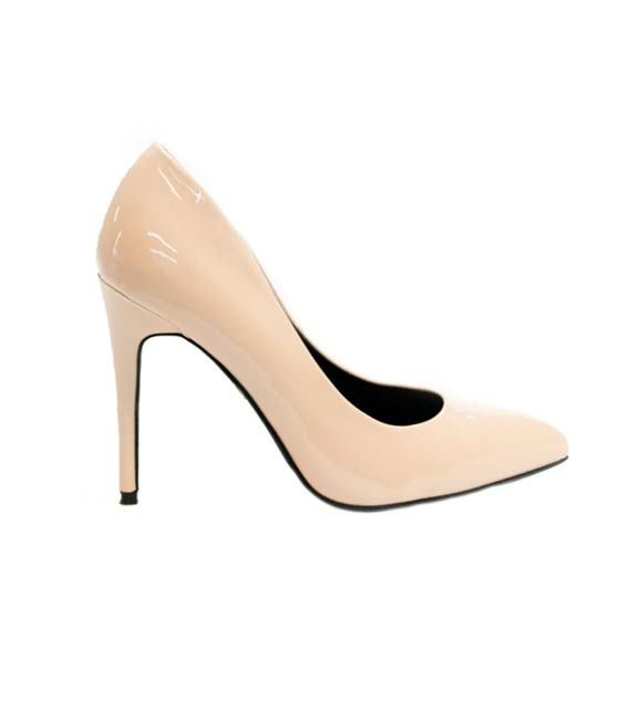Pump patent leather beige